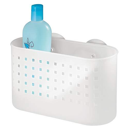 InterDesign Suction Bathroom Caddy - Shower Storage Shelf for Shampoo, Conditioner and Soap, White