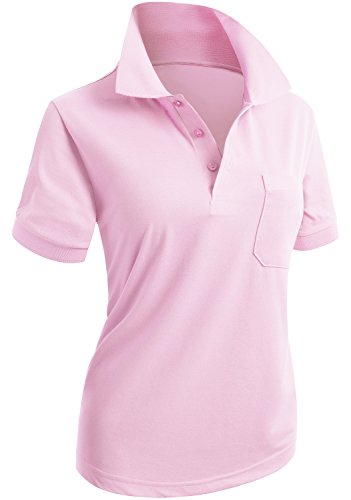 Price comparison product image CLOVERY Women's Performance Short Sleeve Basic Polo Shirt LIGHTPINK US XL / Tag XL