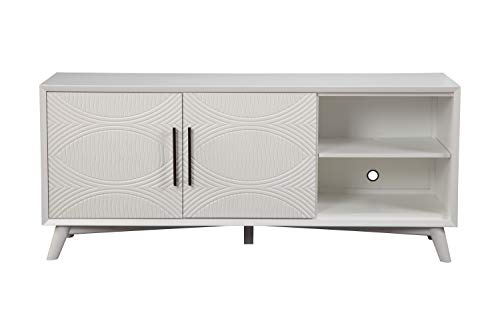 Alpine Furniture Spacious Mahogany Wood TV Console with Double Door Cabinet, White
