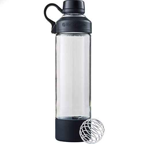 BlenderBottle Mantra Glass Shaker Bottle, 20-Ounce, Black
