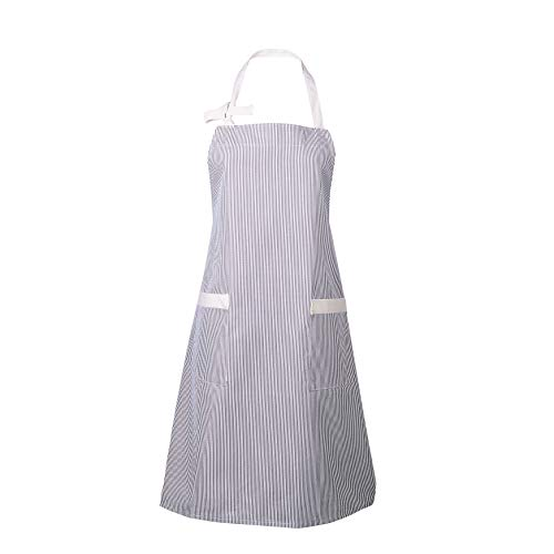 Canvas Bib - Waitworth 1 Pack Cotton Canvas Bib Apron 2 Pockets Adjustable Neck Strap Apron Cooking Kitchen Crafting Artist Gardening Aprons for Women Men Adults, Grey and White Pinstripe