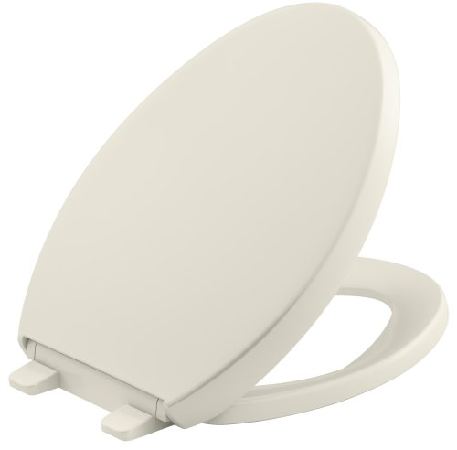 KOHLER K-4008-96 Reveal Quiet-Close with Grip-Tight Bumpers Elongated Toilet Seat, Biscuit (Seat Toilet Biscuit Elongated)
