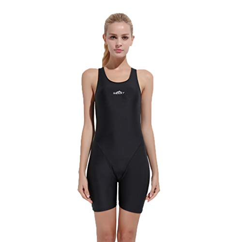Women Solid Color Sleeveless O Neck Letter Printed Swimsuit Swimwear Diving Suit One Piece (M, Black)