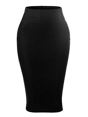 MixMatchy Women's Solid Stretchy High Waist Elastic Waist Body-Con Midi Skirt Pencil Skirt Black 3XL