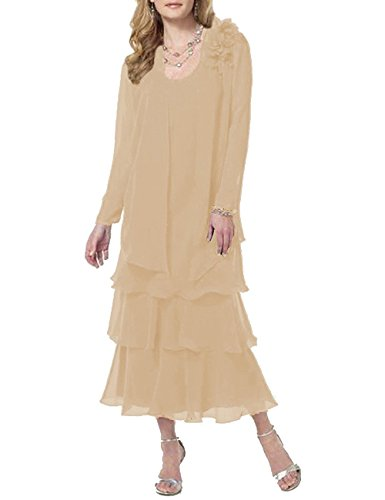 Pretygirl Women's Flower Chiffon Long Tiered Mother Of The Bride Dress Prom Evening Dresses With Jacket New