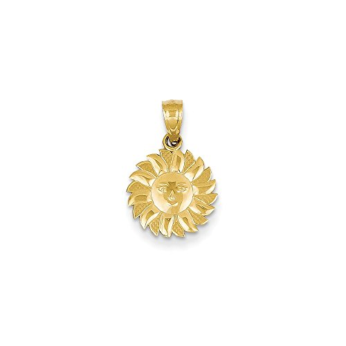 - 14k Gold Polished Sun with Face Pendant (0.71 in x 0.47 in)
