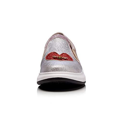 En De Corazón Bling Zapatos Las Decoración Casual El Abeja Plataforma Charol Otoño Resbalón Mocasines Mujeres Glitter Pisos Primavera Rosado 7wg5vq