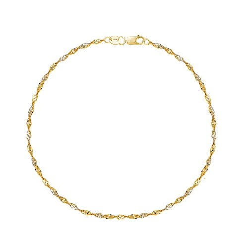(Ritastephens 14K Yellow White Gold Two Tone Singapore Anklet Ankle Bracelet 10 Inches)