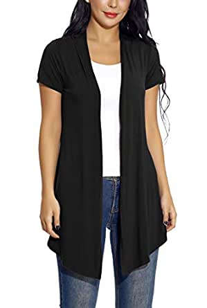 EXCHIC Women's Soft Drape Cardigan Short Sleeves Solid Lightweight Cardigan - Black - Small