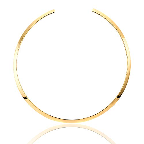 Statement Women Choker Necklace Polished Stainless Steel Chunky Necklace Collar Jewelry (Yellow Gold) (Metal Choker Necklace)