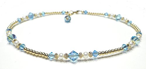 - DAMALI Gold-Filled Ankle Bracelets Blue Aquamarine Swarovski Crystals Beaded March Birthstone Jewelry