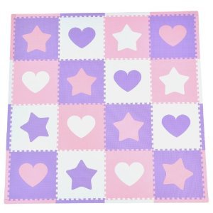 Toy / Game Tadpoles 16 Sq Ft Removable Hearts And Stars Playmat Set, Pink/Purple/White - Great Look To Any (Tadpoles Stars)