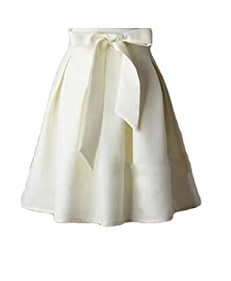 UUYUK-Women A Line Pleated Bow Tie Vintage High Waist Midi Skater Skirt