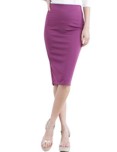 CLOVERY Women's Elastic Waist Band Back Slit Stretchy Fabric Pencil Skirt Plum XL Plus - Skirt Plums Denim