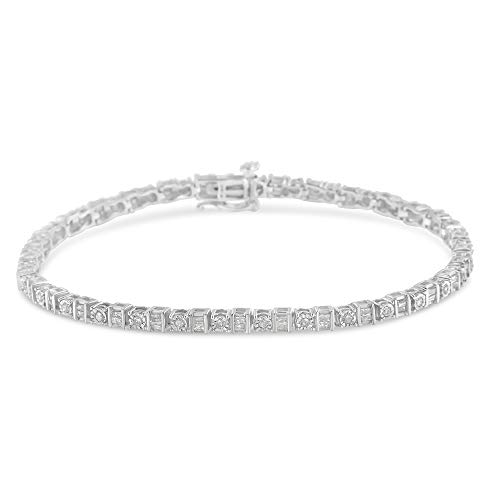 Baguette Diamond Tennis Bracelet - Sterling Silver 1ct TDW Diamond Tennnis Bracelet (I-J, I3)
