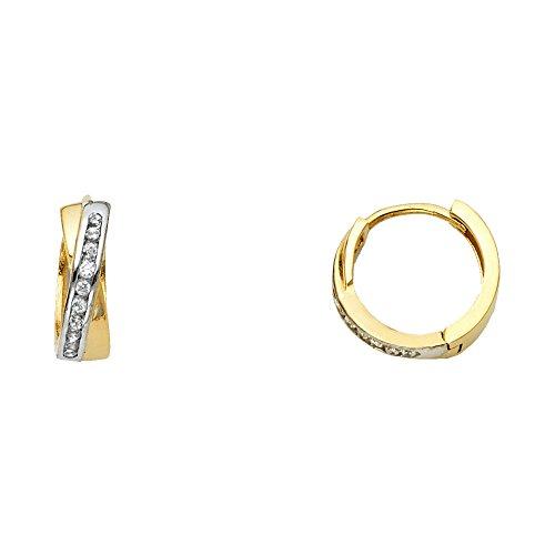 Two Tone 14K Solid Yellow Gold Cubic Zirconia Cross over Huggie Earrings