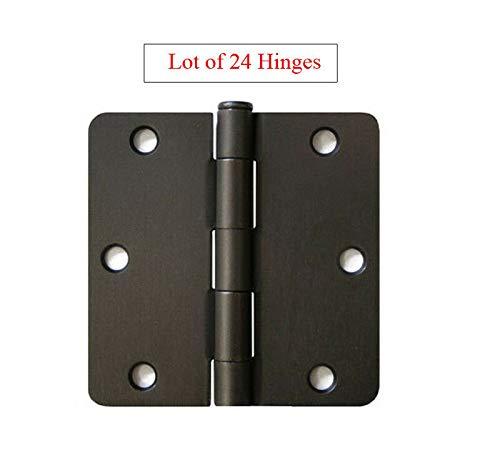 Lot of 24 Oil Rubbed Bronze 3.5' w 1/4' Radius Door Hinges Interior Brushed 3'