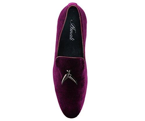 Amali Men's Velvet Smoking Slipper, Loafer Dress Shoes Purple
