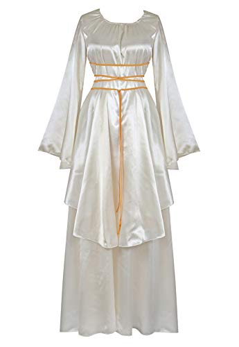 Women's Halloween Cosplay Costume Renaissance Medieval Irish Over Lolita Dress Victorian Retro Gown Role Ivory-M -