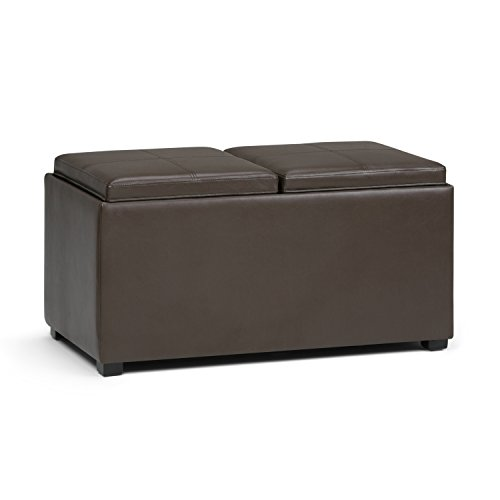 Simpli Home AY-F-15B-CBR Avalon 35 inch Contemporary  Storage Ottoman in Chocolate Brown Faux Leather