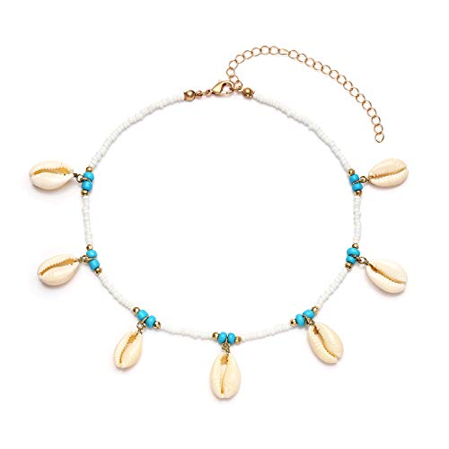 BSJELL Shell Choker Necklace Bohemian Turquoise Cowrie Shell Beads Handmade Summer Beach Conch Shell Necklace Adjustable for Women Girls (White) ()