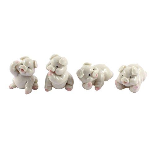 Hand Carved Ceramic - Hand Carved Ceramic Pig Statue Figurine Crafts Decor 4 in 1 White