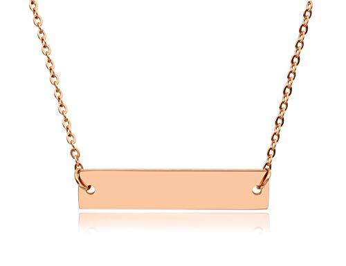 KristLand - Women 18k Gold Plated Fashion Necklace Bar Pendant Chain Adjustable Long Rose Gold Color ()