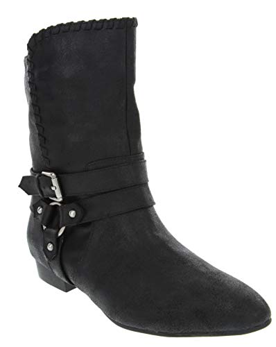 Rampage Women's Brinn Mid Calf Low Shaft Ankle Boot with Wraparounds Buckle and Whipstitch Trim Black 8 (Buckle Wrap Around)