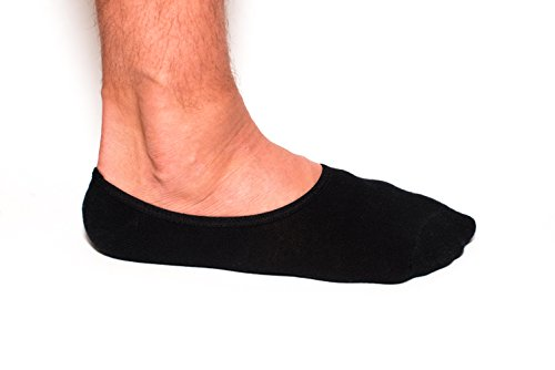 Mens No Show Socks by The Seamster Company - Cotton Non-Slip (Black 6 Pack)