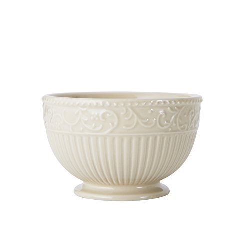 Mikasa Italian Countryside Accents Footed Fruit Bowl, Scroll Beige