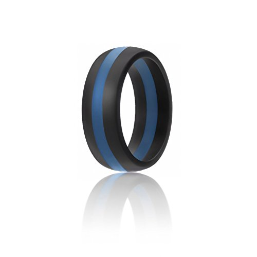 ROQ Silicone Wedding Ring For Men, Silicone Rubber Band - Black With Blue Stripe, Size (Blue Wedding Ring)