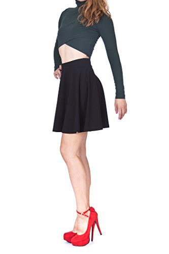Swing Swing Wide High Waist A-line Full Flared Swing Skater Short Mini Skirt (XL, Black)