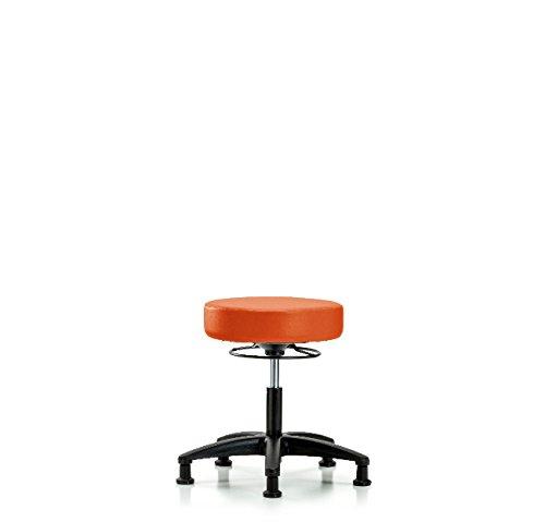 Vinyl Desk Height Stool - Nylon Base, Glides, Orange Kist Vinyl