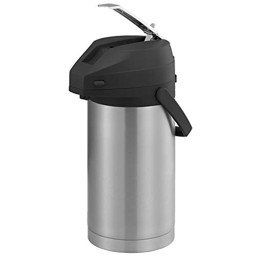 Service Ideas CTAL37BL Airpot with Lever, Stainless Steel Lined, 3.7 L, Black Top ()