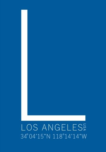 Pewter La Dodgers Baseball - Los Angeles Minimalist Typography Notebook: Blue 7 x 10 Inch Notebook/Journal with Dodger Stadium Coordinates