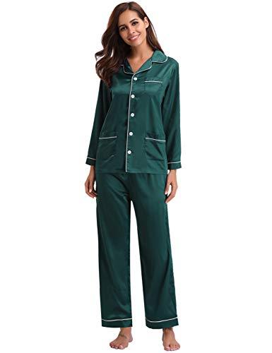 Seta Lunghe Tutte Camicia Per Da Pigiama Verde Set Con Stagioni Abollria Le Maniche Donna Raso Lungo In Notte Rv16q