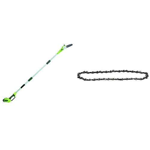 Greenworks 8.5' 40V Cordless Pole Saw, 2.0 AH Battery Included 20672 with  8-Inch Replacement Pole Saw Chain 29072