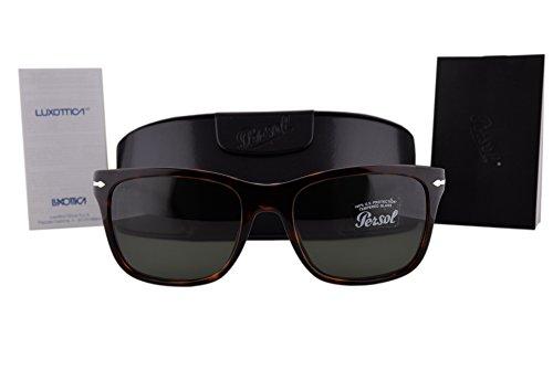 Persol PO3135S Sunglasses Havana w/Green Lens 2431 PO 3135-S For - Persol 3135
