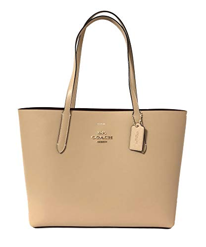 (Coach F31535 Beachwood Wine Beige Large Leather Women's Tote Bag)