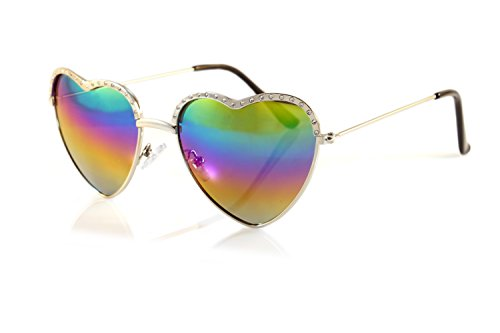 FBL Cupid Valentine Jeweled Top Heart Sunglasses Rainbow Mirror Gradient A105 (Silver/Rainbow RV)
