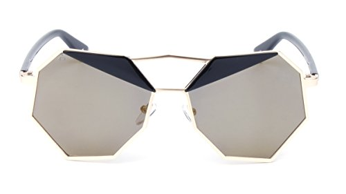 "PRIVE REVAUX ""The Activist"" Handcrafted Designer Geometric Polarized Sunglasses (Black/Gold)"