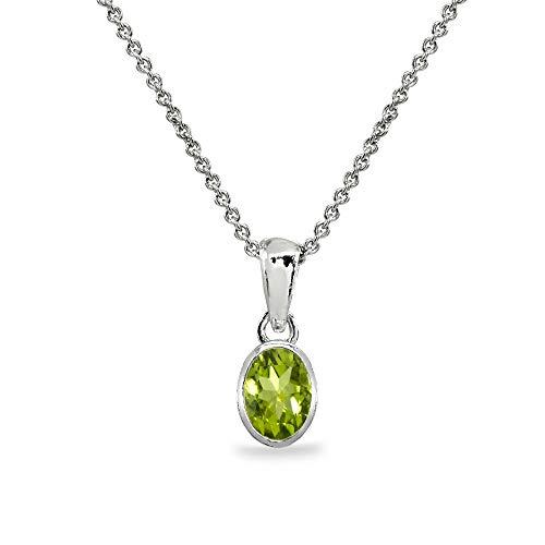 Sterling Silver Peridot 8x6mm Oval Bezel-Set Dainty Pendant Necklace for Women, Teen Girls