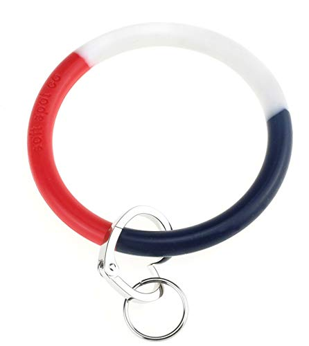 Silicone Bangle Key Ring by Soft Spot Co (Red, White and Blue) ()