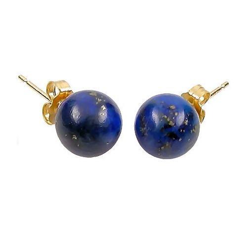 Trustmark 14K Yellow Gold 8mm Natural Blue Lapis Lazuli Ball Stud Post Earrings (Lapis Earrings Yellow)