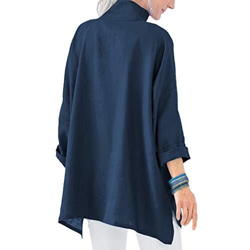 Dobladillo Irregular Darkblue De Manga Sólido Mujeres Larga Botón Incluido Color Las Ropa Suelto Collar Camisa Pie PZzPgFx