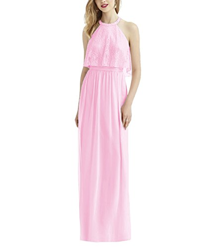 Bridal Formal Evening Pink 2018 Bridesmaid Beauty Halter Dresses for Prom Women Gowns BqdCnwCxH