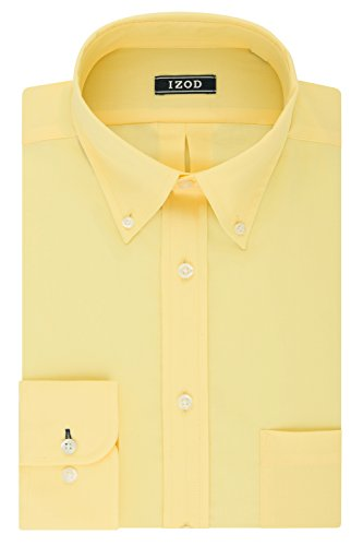 Shirt Mens Down Dress Button (IZOD Men's Regular Fit Stretch Solid Buttondown Collar Dress Shirt, Yellow, 17