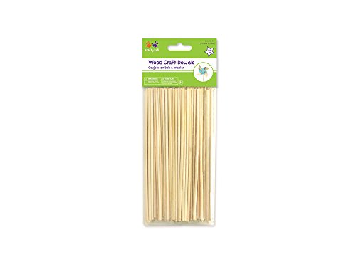 Multicraft Imports Krafty Kids CW550 Craftwood Natural Thin Dowel, 6in by 2.5mm, 140-Piece ()