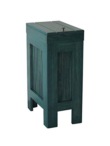 Wooden Wood Trash Bin Kitchen Garbage Can Rectangular 13 Gallon Hunter Green Stain Made From Eastern White Knotty Pine - Handcrafted in USA By Buffalowoodshop