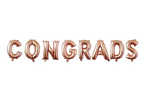 CONGRADS Balloons Banner Rose Gold 16 inch letter Balloons Foil Mylar Balloons Set for Graduation Party Decorations Supplies,Graduate Balloons,Retirement, Congrats Grad Party Supplies (Rose - Congrats Grad Party Balloon Foil